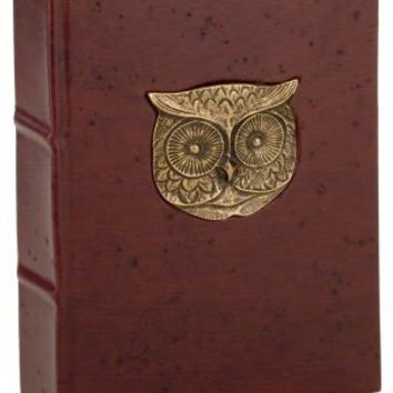 "BARNES & NOBLE | Metal Owl Head Brown Italian Leather Thick Lined Journal (6""x9"") by Giving Europe"