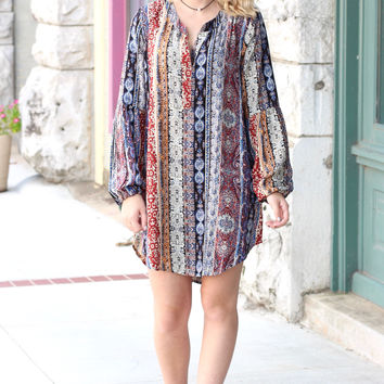 Printed Perfect Side Split Dress {Red Mix}