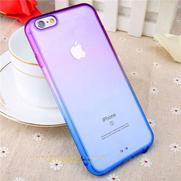 Purple Blue Gradient Rainbow Clear iPhone Cases for iphone 5 5s 6 6s 6 plus 6s Plus