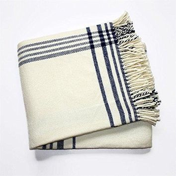 Ben and Jonah 2-Color Stuart Plaid Throw Blanket with Fringes