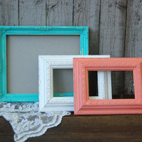 Shabby Chic Frames, Tiffany Blue, Coral, White, Photo, Glass, Wedding Decor, Hand Painted