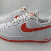 NEW JUNIORS NIKE AIR FORCE 1 314192-181 WHITE/ORANGE BLAZE