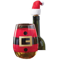 Holiday Santa Stemless Wine Glass & Topper