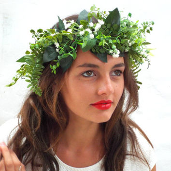 Green leaf crown, Lana del Rey,Baby's breath headpiece, White wedding wreath, Bridal headband