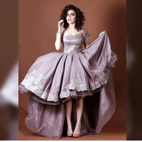 Dusty Pink Satin High Low Short Prom Cocktail Dresses Cap Sleeves Short Front Long Back Cocktail Dresses Robe De Cocktail