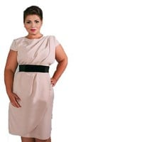 Women's Plus Size Sexy O-neck Short Sleeve A-line Ol Dress with Belt
