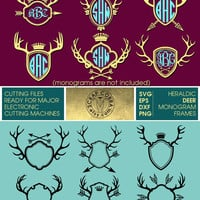 Heraldic Deer Monogram Frames - SVG, eps, DXF, PNG - Digital Cut Files for Silhouette, Cricuit, other electronic cutting machines - cv-371