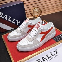 BALLY Men's Leather Fashion Low Top Sneakers Shoes-KUYOU