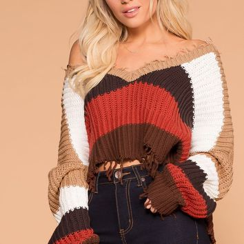 Brenna Distressed Crop Sweater