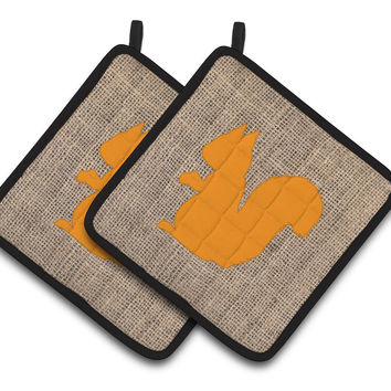 Squirrel Faux Burlap and Orange   Pair of Pot Holders BB1119-BL-OR-PTHD