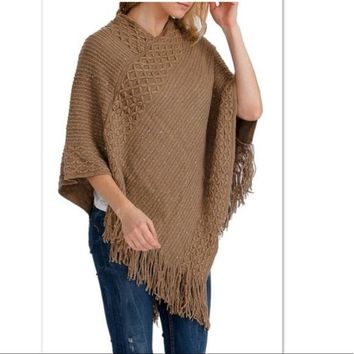 Women's Mocha Brown Sequin Poncho Shimmer Fringed Cape Shawl