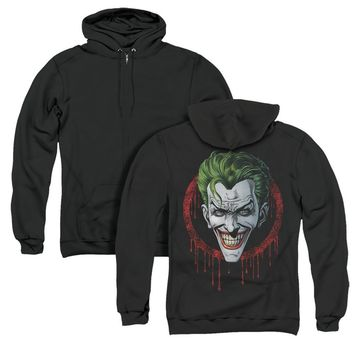 Batman Full Zip Hoodie Joker Drip Black Hoody Back Print