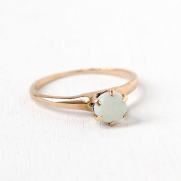 Antique 10K Rose Gold Opal Ring - Vintage Size 4 3/4 Early 1900s Edwardian Art Deco Solitaire Fine Jewelry