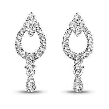 0.34 Carat Genuine White Diamond 14K White Gold Earrings (G-H Color, SI1-SI2 Clarity)