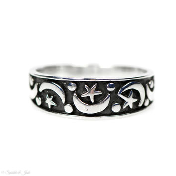 Sterling Silver Antiqued Moon and Star Band