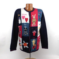 Ugly Christmas Sweater Vintage Cardigan 12 month Holiday Tacky Women's size M