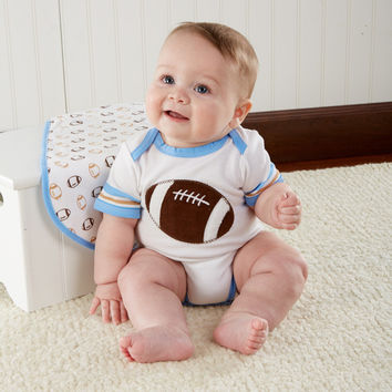 """Tiny Touchdown"" 3 Piece Football-Themed Layette Set"