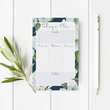Daily Notepad Planner - Back To School Daily Planner - Desktop Notepad - Daily Desk Planner - Floral Daily Agenda Notepad - Gift For Her
