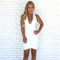 Take Off Bodycon Dress in White