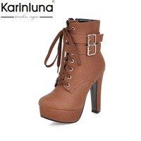 KARINLUNA Hot Sale Big Size 30-50 Fashion High Heels Ankle Boots Sexy Platform Zip Up Party Shoes Women Add Fur Winter Autumn