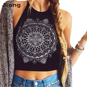 2017 Sexy Women Summer Black Sleeveless Backless Crop Tops Circle Floral Halter Tank Tops Casual Vest T-shirt
