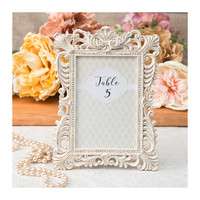 Ivory Picture Frame 4 x 6 Size - Ornate Frames with Gold Leaf for Table Numbers - Wedding Favors Party Favor Victorian Bridal Shower