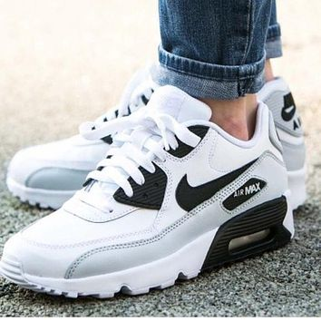 NIKE AIR MAX 90 fashion ladies men running sports shoes sneakers F-PS-XSDZBSH Grey with white black tail