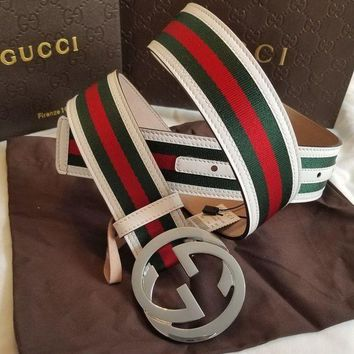 DCCKR2 Gucci Stylish Red Green Stripes Smooth GG Buckle Leather Belt I