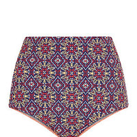 Multicoloured Tile Print High Waisted Bikini Bottoms