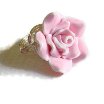 Pink polymer rose silver wire wrapped ring teen girl