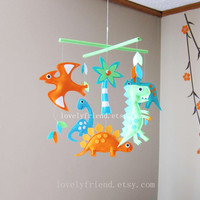 "Dino Baby Mobile - Green and orange Dinos Crib Mobile - "" t-rex and friends "" - Handmade Nursery Mobile (Match your bedding)"