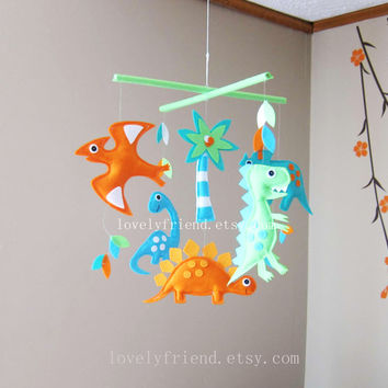 """Dino Baby Mobile - Green and orange Dinos Crib Mobile - """" t-rex and friends """" - Handmade Nursery Mobile (Match your bedding)"""