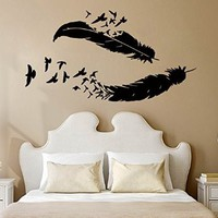 Wall Decals Vinyl Decal Sticker Home Interior Design Art Mural Birds Feather Nib Living Room Bedroom Kids Room Baby Nursery Decor