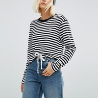 Obey Oversized Long Sleeve T-Shirt In Pirate Stripe at asos.com