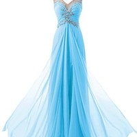 Diyouth Long Cap Sleeves V Neck Appliques Prom Dresses Backless