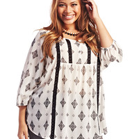 Crochet Trim Aztec Blouse | Wet Seal+