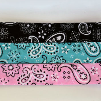 Bandana fabric headband, women's elastic headband, pink, blue, black bandana, no slip workout headband
