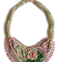 BIG SALE Shibori Ribbon Necklace, Victorian Style,Hand Beaded Flower, Shibori Ribbon, BOHO, Statement Necklace, Boho Jewelry, Pink and Green
