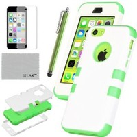 ULAK 3 in 1 Shield Series Hybrid Case for Apple iPhone 5C with Soft Silicone Inner Case and Hard PC Outer Case Cover (Green+White)