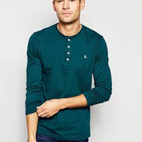 Jack Wills Henley T-Shirt With Long Sleeves in Forest Green Exclusive at asos.com