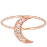 Rose Gold Mini Crescent Moon White Diamond Pavé Ring