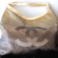 CHANEL BRONZE GOLD METALLIC LEATHER LG CC LOGO SHOPPER TOTE HANDBAG BAG NEW NWT