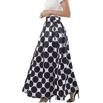 White Contrast Black Polka Dot Long Skirt, US Sizes 4 - 14