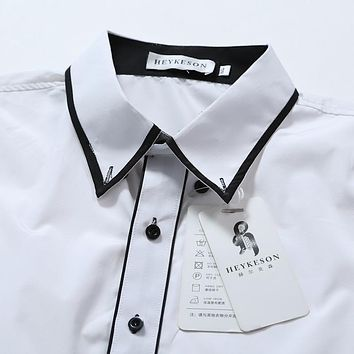 Double Color Collar Slim Fit Shirt