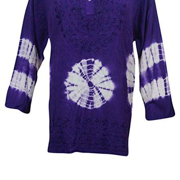 Womens Tunic Top Tie- Dye Hippie Hand Embroidered Purple Peasant Blouse XL