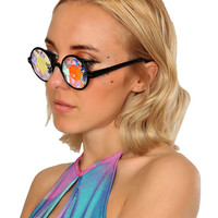 Black Retro Round Kaleidoscope Glasses