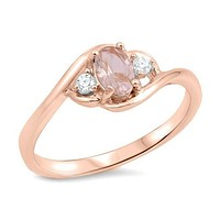 Sterling Silver Rose Gold Plated Oval Morganite Accented Ring