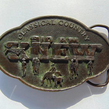 1981 Classical Country 910 AM KNEW Radio Station Vintage Brass Belt Buckle by Walter W. Cribbins Co. Inc.