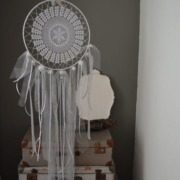 A big vintage lace doily dream catcher in White shades --- Perfect as wedding decor, A vintage elegant touch or an special present