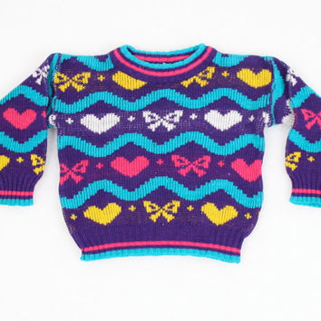 Vintage Toddler Girl Sweater 1980s Sweater Heart Bow Knit Jumper Cosby Sweater New Wave Ugly Sweater Purple Teal Pink 2T 3T Mod Little Girl